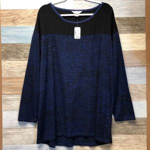 cj Banks Size 2X Blue and Black Top